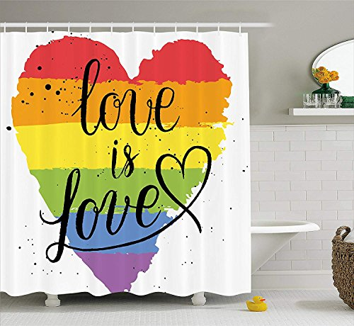 JIMMY MONTGOMERY Pride Decorations Shower Curtain, LGBT Gay Lesbian Parade Love is Love Hand Writing Paint Strokes Artistic, Fabric Bathroom Decor Set with Hooks, 84 inches Extra Long, Multicolor