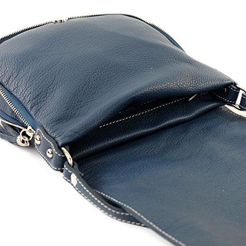 modamoda de - ital. Ledertasche Damentasche Umhängetasche Messenger Crossover Leder T06 Dunkelblau