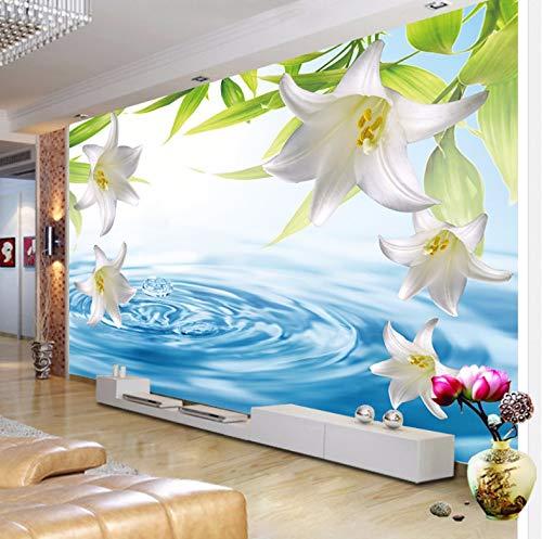 VVBIHUAING 3D Dekorationen Aufkleber Tapete Wand Wandbilder Weiße Lilienblume Wohnzimmer Hintergrund Umwelt Kunst Kinder Küche (W) 400x(H) 280cm (Riesen-wand-abziehbilder Für Wohnzimmer)