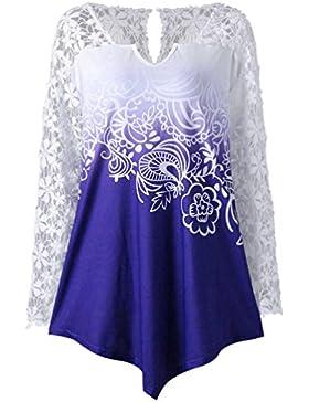 Mujer Blusa,Zarupeng Womens Printing Lace Shirt Long Sleeve Shirt Casual Tops Ladies Blouse