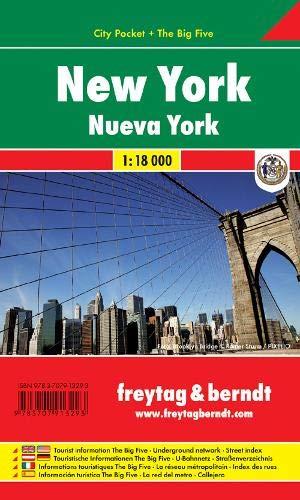 New York, Stadtplan 1:18.000, City Pocket + The Big Five: Stadskaart 1:18 000 (freytag & berndt Stadtpläne)