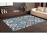 Alfombra Cartabon Azul PVC | 95 cm x 120 cm | Moqueta PVC | Suelo vinilico | Decoración del Hogar