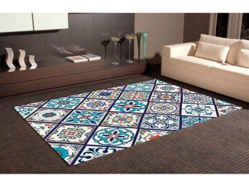 Alfombra Cartabon Azul PVC | 95 cm x 133 cm| Moqueta PVC | Suelo vinilico | Decoración del Hogar