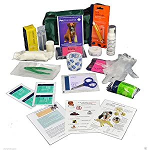 Warwick Whelping Boxes Pet First Aid Kit Comprehensive with paw print bandage and 50ml Hand sanitiser foamer CPR guide and Toxic foods leaflets included 8