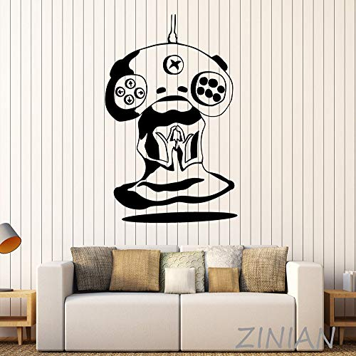 guijiumai Gamer Meditation Alien Joystick Videospiel Wandtattoo Aufkleber Spielen Spielzimmer Tür Dekoration Mode Kunst Aufkleber Muraux grau 56X80 cm