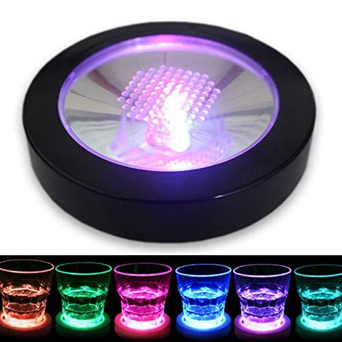 Verre LED Light Up Bouteille Tasse Tapis d'éclairage Flash Tasse Tapis de forme ronde pour la bière Vin Bouteille en verre avec tasse lumineuse Tapis Home Party Club Barre d'alimentation Black Shell