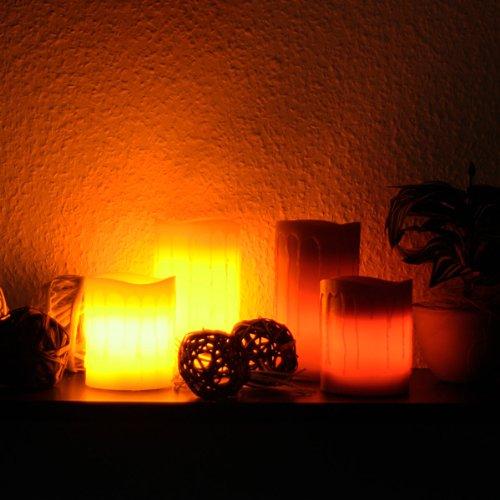 4er luz LED vela de cera marfil/rojo ø8, 5cm