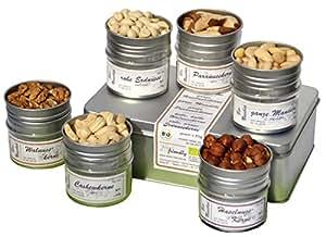 direct&friendly Bio Knackiges Kraftpaket Geschenkset mit 6 verschiedenen Bio Nüssen – Walnuss, Cashew, Haselnuss, Paranuss, Mandeln, Erdnuss