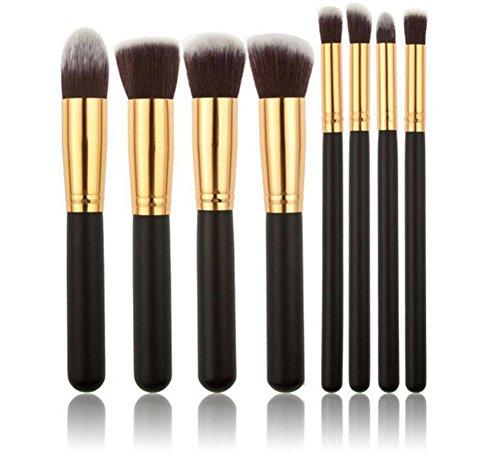 Vi.yo 8 Pcs Ensemble de Brosses Makeup Premium Cosmetics Foundation Blush Kit de Brosse à Poudre(Noir + Argent)