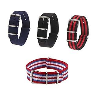POSSBAY 4pcs 18mm Uhrenarmbänder Unisex Damen Herren Nylon Uhrenarmband Uhrband