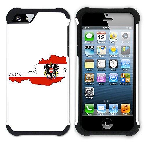 Graphic4You Österreich Österreichisch Flagge Hart + Weiche Kratzfeste Hülle Case Schale Tasche Schutzhülle für Apple iPhone SE / 5 / 5S Design #2