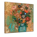 Bilderdepot24 Kunstdruck - Alte Meister - Odilon Redon - Blumen in Einer blauen Vase - 40x40cm einteilig - Bild auf Leinwand - Wandbild