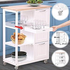MIADOMODO Küchenwagen auf Rollen - 3 Schubladen, 3 Ebenen, Holz und MDF, 67x37x84 cm,Weiß-Natur - Servierwagen, Rollwagen, Küchentrolley, Küchenschrank im Landhausstil