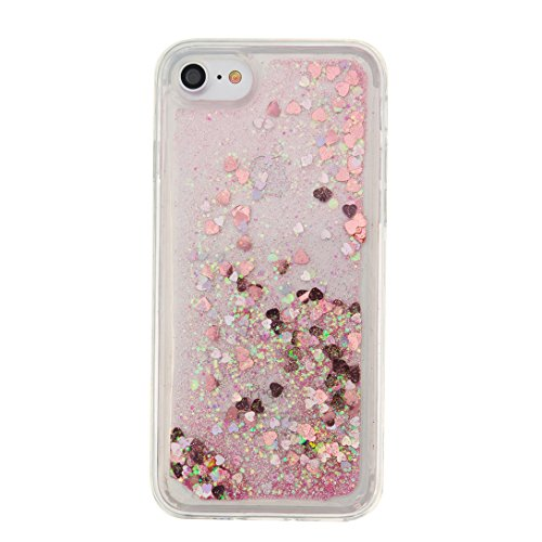 Pheant® Apple iPhone 7 (4.7 pouces) Coque Gel Étui Brillante Housse de Protection Etui Cas Transparent en TPU Souple Silicone Liquide Bling Gratuit Paillettes Sables Mouvants Bleu Rose