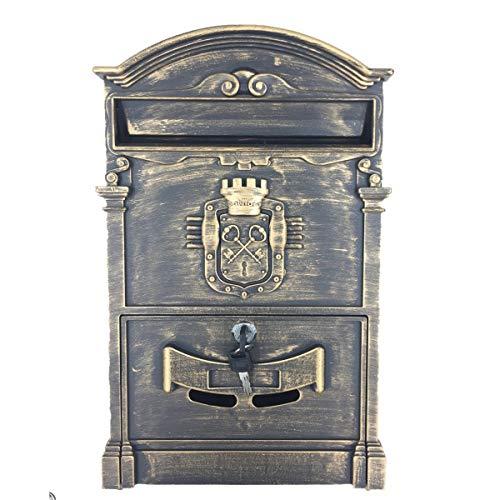 HYLH Outdoor Mailbox Retro Vintage EuropäIsche Aluminium Wand Mailbox Briefkasten Sicherer Briefkasten AußErhalb BriefkäSten -