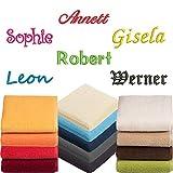 Vossen Gästetuch | Handtuch | Duschtuch | Badetuch | Saunatuch | Bestickt mit Name oder Text Wunschstickerei (Darkblue (Farbton: Blau), Badetuch 100 x 150 cm)