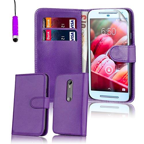 Motorola Moto G 3 (3. Generacion, 2015) Funda Carcasa Flip de Piel PU Tipo Libro Billetera con Tapa y Tarjetero de 32nd®, incluye protector de pantalla, paño de limpieza y lápiz optico -