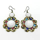 Vintage Antique Style Gold Tone Flower Grey Crystal Drop Dangle Fashion Earrings
