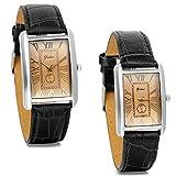 JewelryWe Partneruhren Armbanduhr,Retro Leder Analog Quarz Uhr mit römischen ziffern Zifferblatt, Lieben, Schwarz