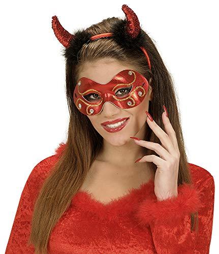 Augenmaske mit Strass - Rot - Kostüm Rokoko Barock Renaissance Maskenball