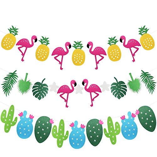 Hysagtek 3 Sets Hawaiian Tropical Party Girlande Flamingo Ananas Tropische Blätter Kaktus Banner Wimpelkette Hängende Dekoration Sommer Strand Luau Party Geburtstag Party Dekoration Supplies