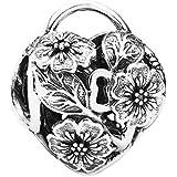 Pandora Charm Florales herzförmiges Schloss