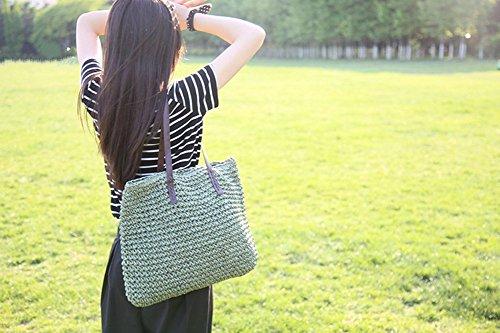 tonwhar Sommer Mode Stroh Tasche Beach Lady Handtasche grün