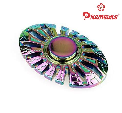 Premsons Fidget Spinner Metal Oval Wheel Gear Hand Spinner 5 - 7 Mins Spin Time Ultra Speed Tri-Spinner Toy - Metallic Rainbow