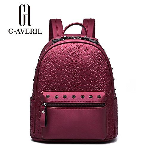 (G-AVERIL) Lady PU Pelle Casual Borsa Top Handle Bag Borsa scuola zaino cerniera di chiusura borsa per le donne Vino rosso