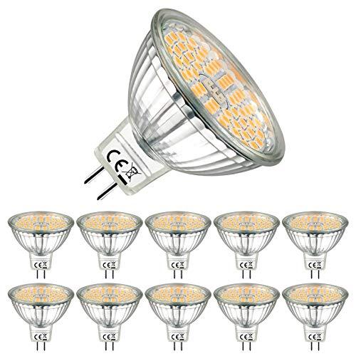 EACLL Bombillas LED GU5.3 2700K Blanco Cálido Sin Parpadeo MR16 12V 5W 500 Lúmenes Equivalente 60W Halógena. 120 ° Luz Blanca Cálida Lámpara Reflectoras, Pack de 10