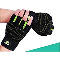 King of Flash Green/Black [Extra Large] Half Finger Gloves 3D Gel Silicone Anti-Skid Anti-Slip Anti-Shock Fingerless Gloves Weight Lifting/Cycling/Gym/Rowing/Training