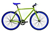 FabricBike-Fixie Bike, Single Speed Fahrrad, Fixed Gear, Green Hi-Ten Steel Frame, 10kg (Green & Blue, M-53)