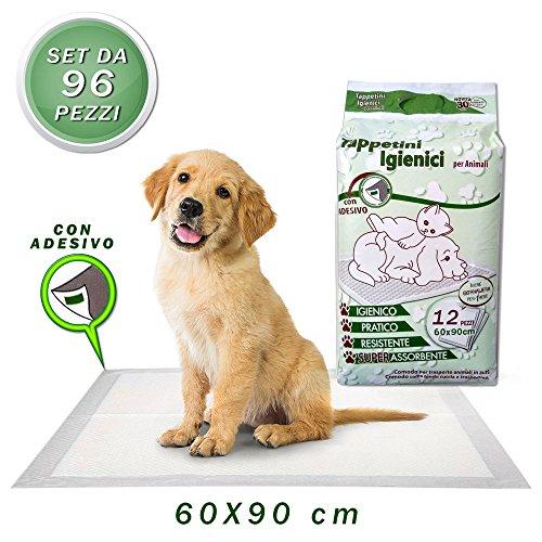 Vetrineinrete Tappetini igienici assorbenti per animali 96 pezzi tappetino per cani gatti pannolini traversine per cuccioli traversa adesiva per addestramento cane 60x90 cm X