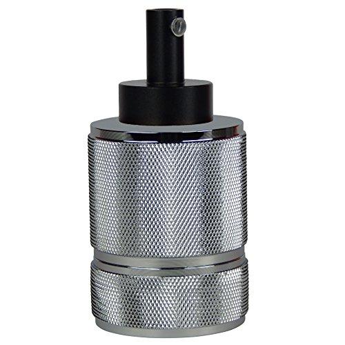 Lampen-Fassung (Silber) für Glühbirnen/LED mit E27 Gewinde, 8,00 x 4,7 cm, 135 g, bis 100 W, fünfteilig, incl. Zugentlastung, für Pendel-Leuchten, CE, Vintage, Retro, Antik, Edison (Anzahl: 1)