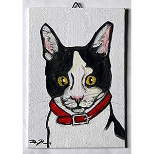 Katze -Acrylmalerei auf Leinwand, Maße cm 13x18x0,3 cm,bereit, an der Wand befestigt zu werden. Hergestellt in Italien, Toskana, Lucca. Erstellt von Davide Pacini.