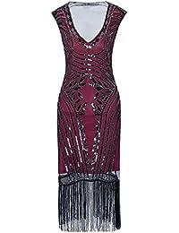 Metme Mujer Década de 1920 Sexy cuello en V con cuentas con flecos gran Gatsby tema vestido de cóctel para el baile…
