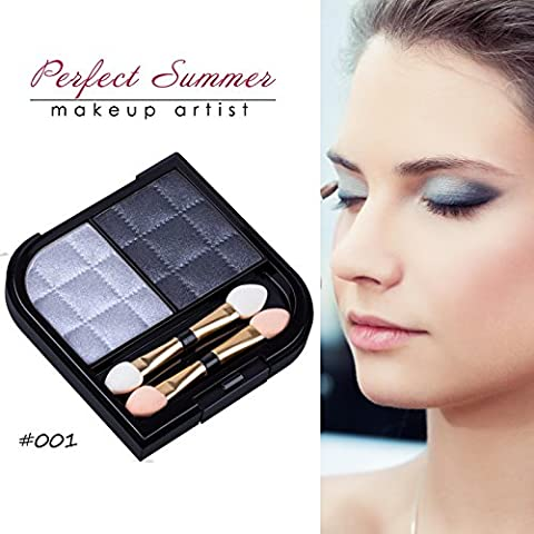 Perfect Summer 2 Colors Make Up Glitter Eyeshadow Palette Waterproof Shade #001-Metallic Silver/Dark Slate