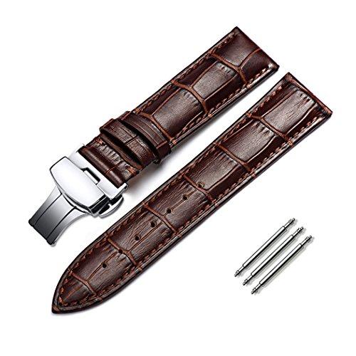 omyzam Armband Echtes Kalbsleder Ersatz Uhrenarmbänder Mode Uhrenarmband Push Button Schmetterling Faltschließe Passend für Traditionelle Uhr, Sportuhr oder Smart Watch 22mm Braun