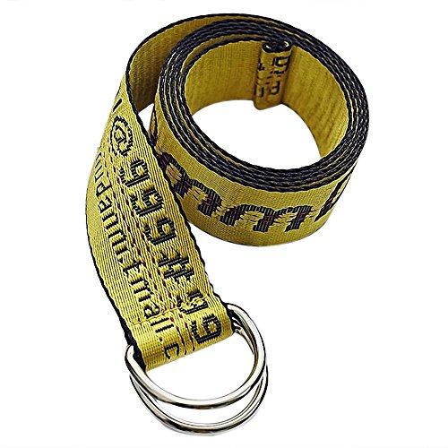 Gürtel Stickerei alphanumerische Dekorative Breite Gürtel Doppelter Ring auf Leinwand gelb, canvas, gelb, XL(200cm*3.5cm) (Jugend Hip Hop Kostüme)