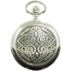 Scottish Twisted Celtic Knot Mechanical 17 Jewel Full Hunter Pocket Watch PW108M