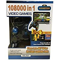 TOYDIRECT 98000 in 1 Video Game Pad Built in TV Game Single Player Direct AV Inputs USB No Batteries Required Single Remote Shooting, Puzzle, Racing, Action Birthday Gift for Kids