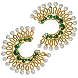 Maayra Classic Green Pearl Chand Bali Earrings best price on Amazon @ Rs. 1195
