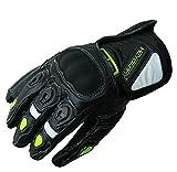 Heyberry Motorradhandschuhe kurz Leder schwarz neon Gr. L