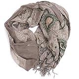 ufash Pashmina Schal, handbestickt & warm, aus Punjab, Indien, Paisley Muster, 180 x 70 cm - 100% Wolle, Grau