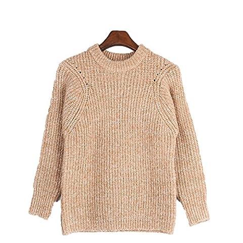 CHLXI Pullover Verdickung Warm Weiblich Einfarbig Kragen Rundhals,A-M