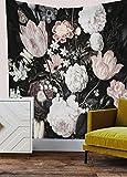 Shukqueen Wandteppich, Schwarze Blüten, schöne Blumen, Wandbehang, Blumenmuster, Stoff, Heimdekoration, Blume, 51