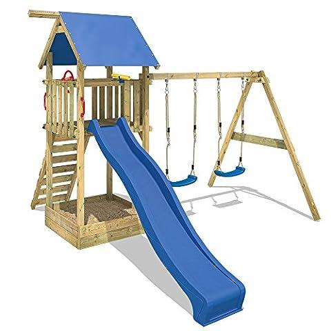 WICKEY Spielturm Smart Empire Kletterturm Garten mit Rutsche, Doppelschaukel und Sandkasten, blaue Rutsche + blaue