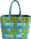 normani Einkaufskorb Shopper geflochten aus Kunststoff - robuster Strandkorb aus wasserabweisendem Material Farbe Classic/Spring