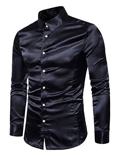 Boom fashion uomo camicie slim fit moda manica lunga camicia elegante tops,nero,xl