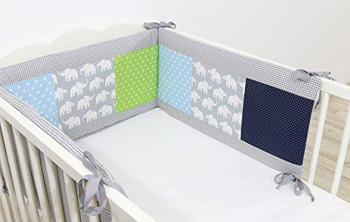 ULLENBOOM Nestchen Elefant Blau Grün (210x30 cm Baby Bettnestchen, Bettumrandung für 140x70 cm Babybett - Kopfbereich, Motiv: Sterne, Elefanten)